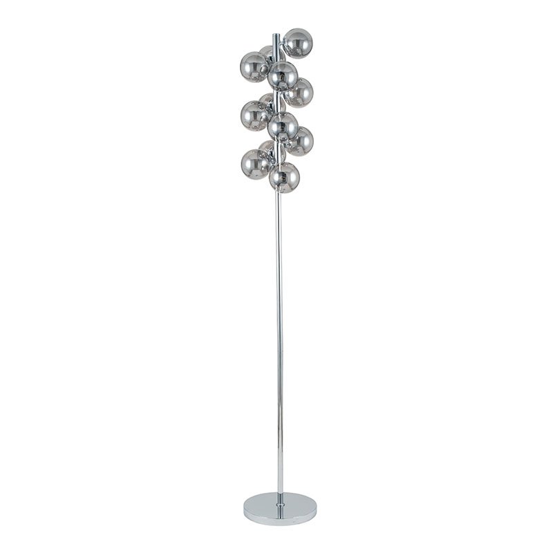 Smoke Glass Ball and Chrome Floor Lamp