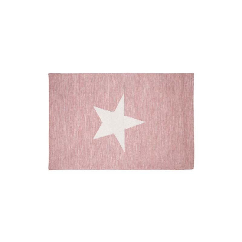 Star Rug,Pink And White / Cotton, Wool,Hand Woven