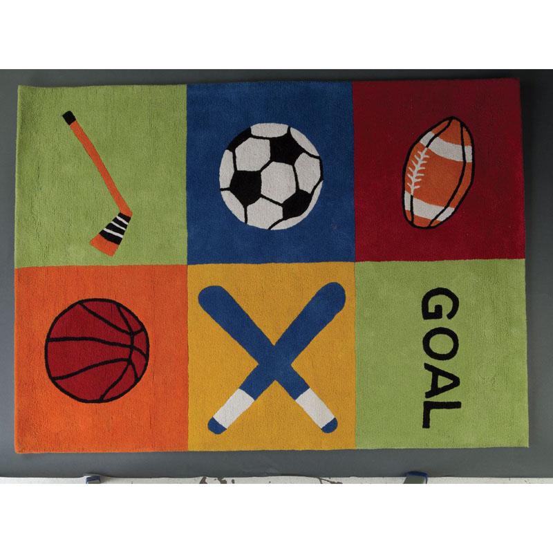 Kids Sport Rug,100% Cotton,Hand Tufted