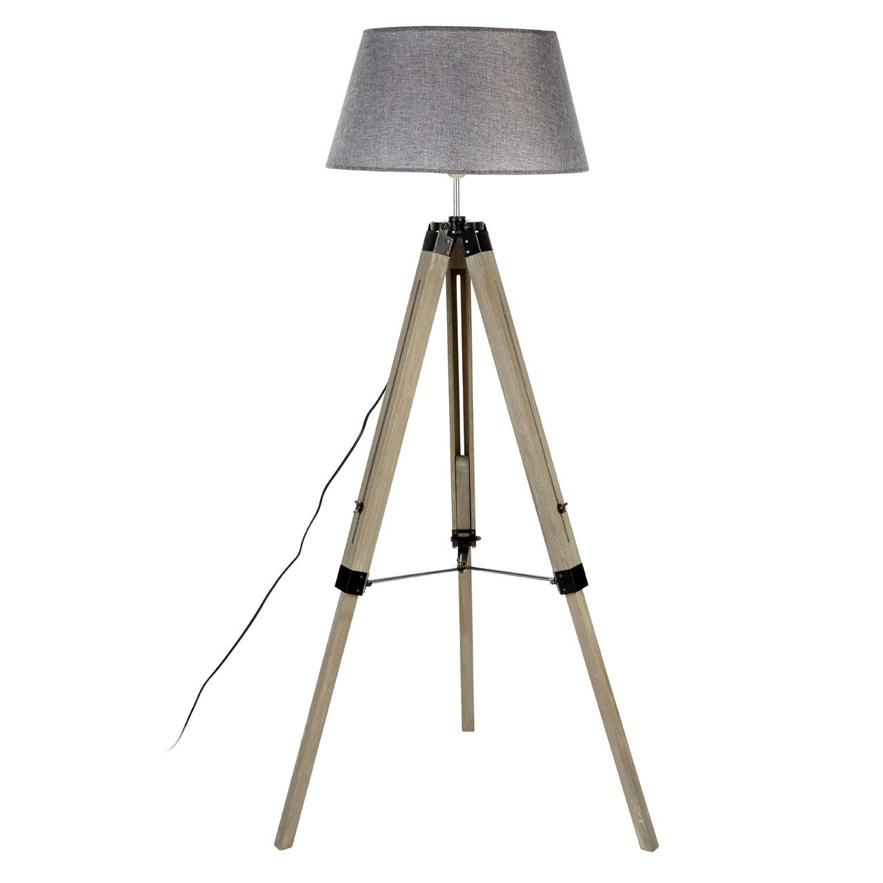 Harper Floor Lamp, Grey Wood Tripod, Grey Shade / Uk Plug