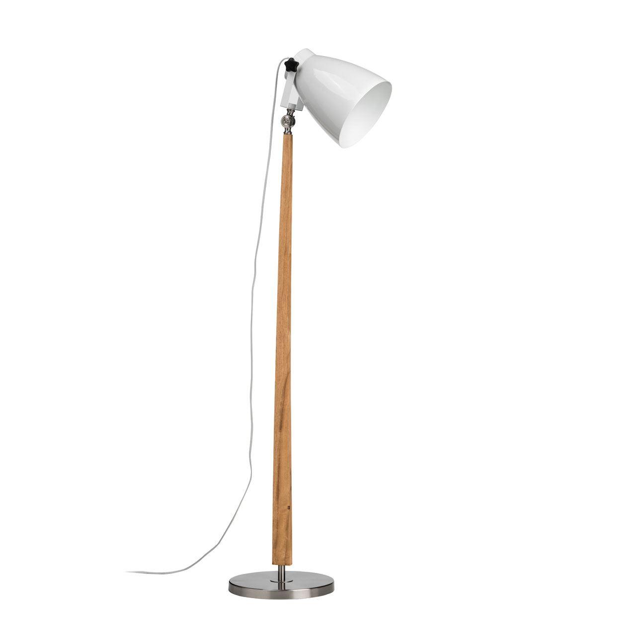 Stockholm Floor Lamp, Satin Nickel / Light Wood, White Shade