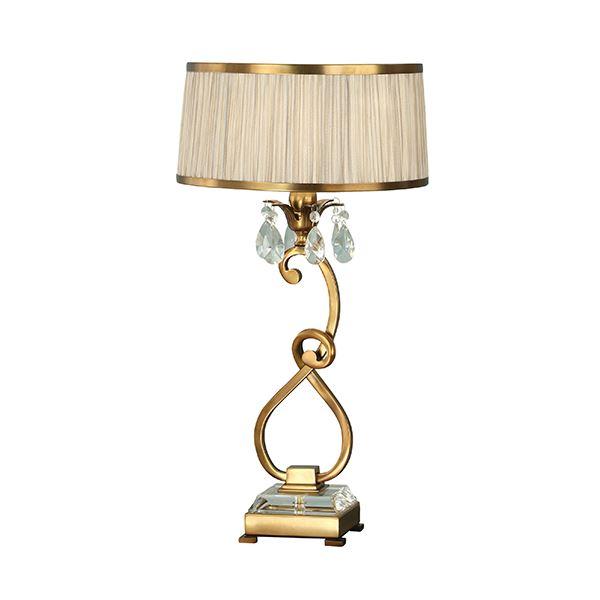 Oksana Antique Brass Medium Table Lamp And Beige Shade 40W