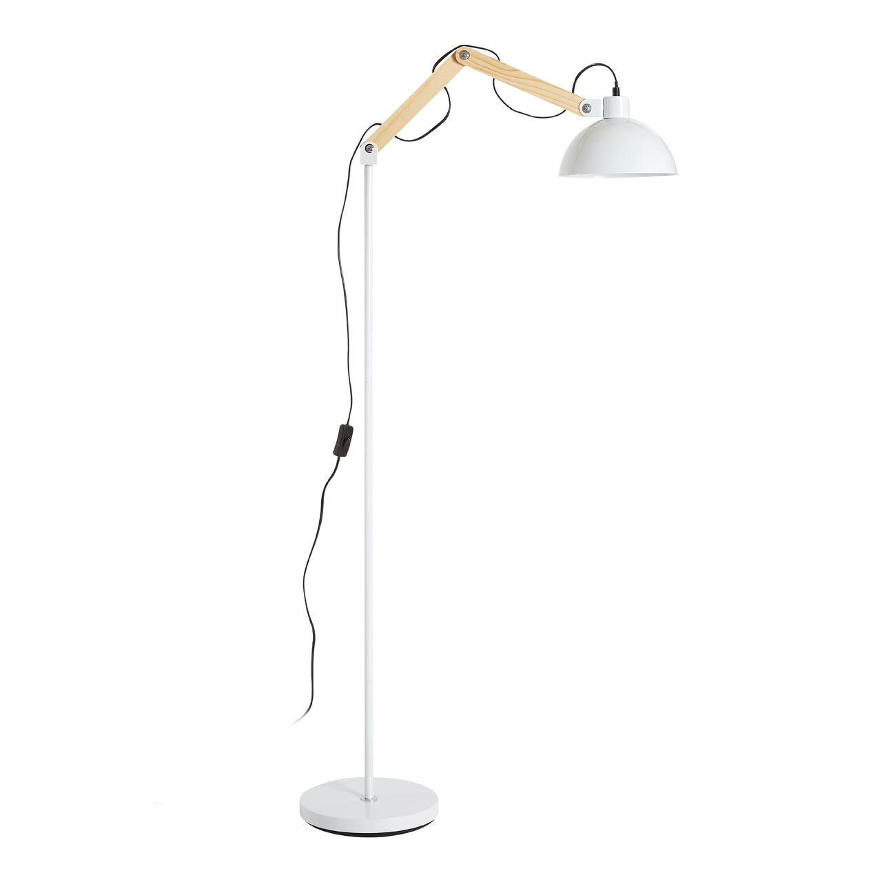 Blair Floor Lamp, Wood / Metal, White