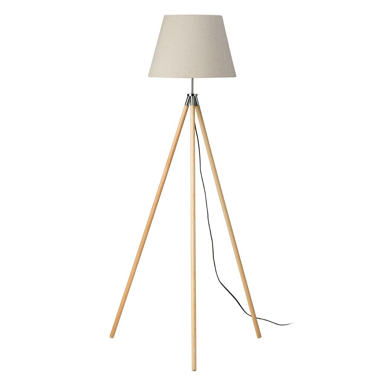 Stockholm Floor Lamp, Light Wood Tripod Base, Flax Fabric Shade / Eu Plug