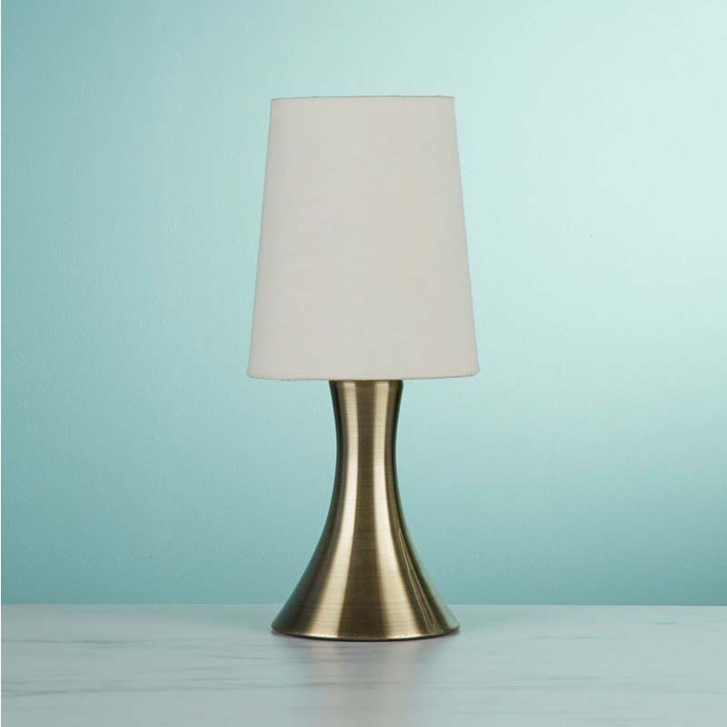 Touch Antique Brass Table Lamp With White Tapered Fabric Shade