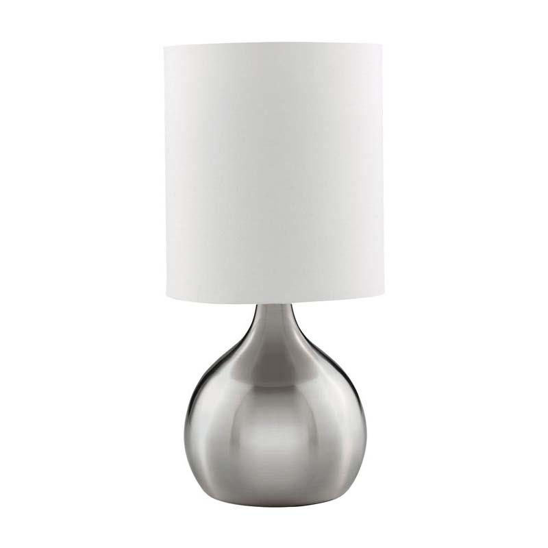 Modern Style Satin Silver Touch Table Lamp With White Drum Shade
