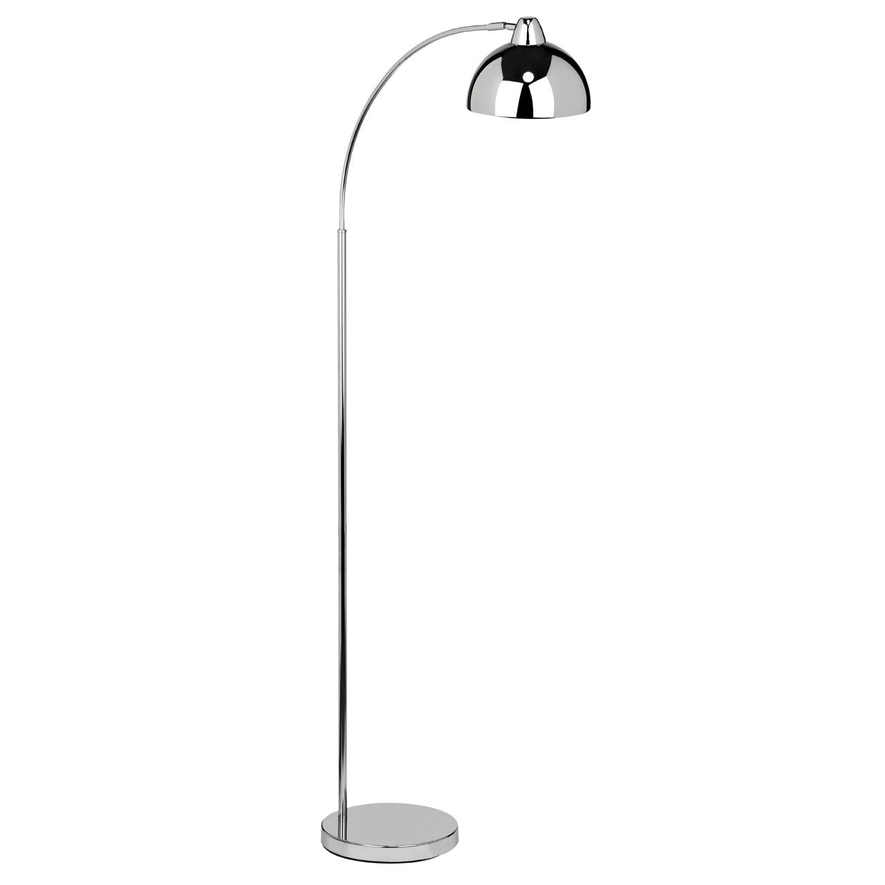 Calle Floor Lamp, Foot Switch, Chrome Finish Metal