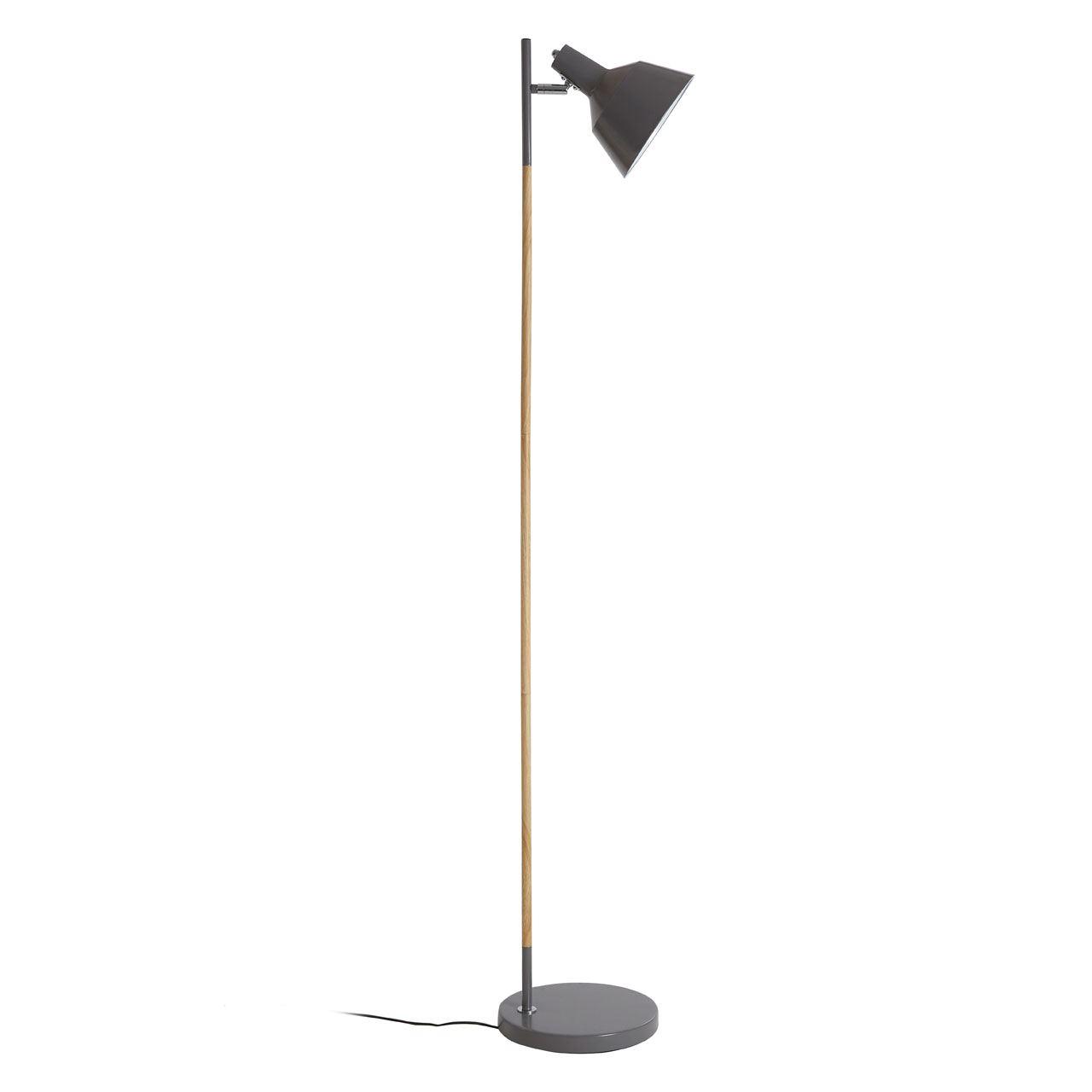 Bryant Floor Lamp, Wood / Metal, Grey