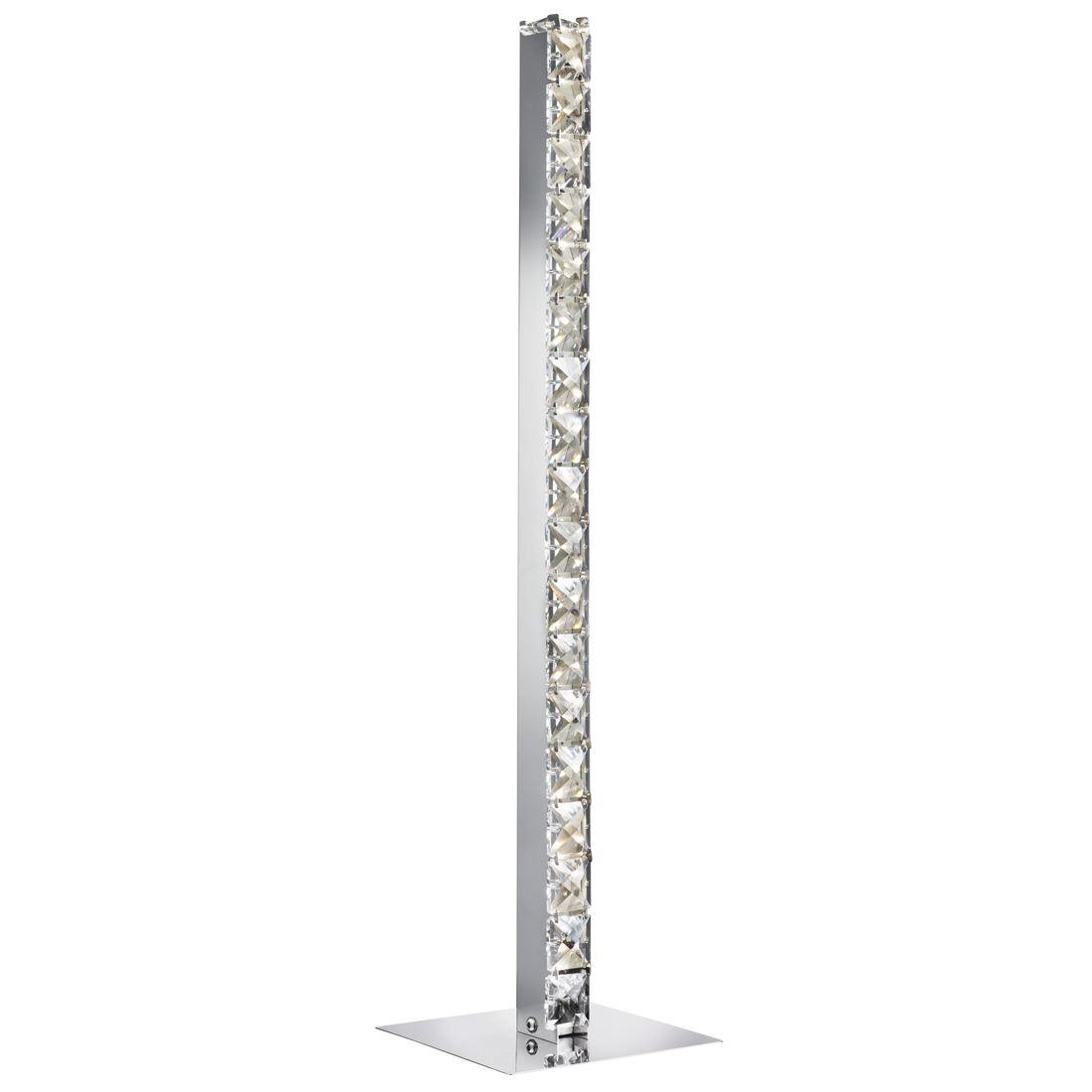 Led Column Table Lamp,Chrome,Clear Crystal Trim - Modern Design
