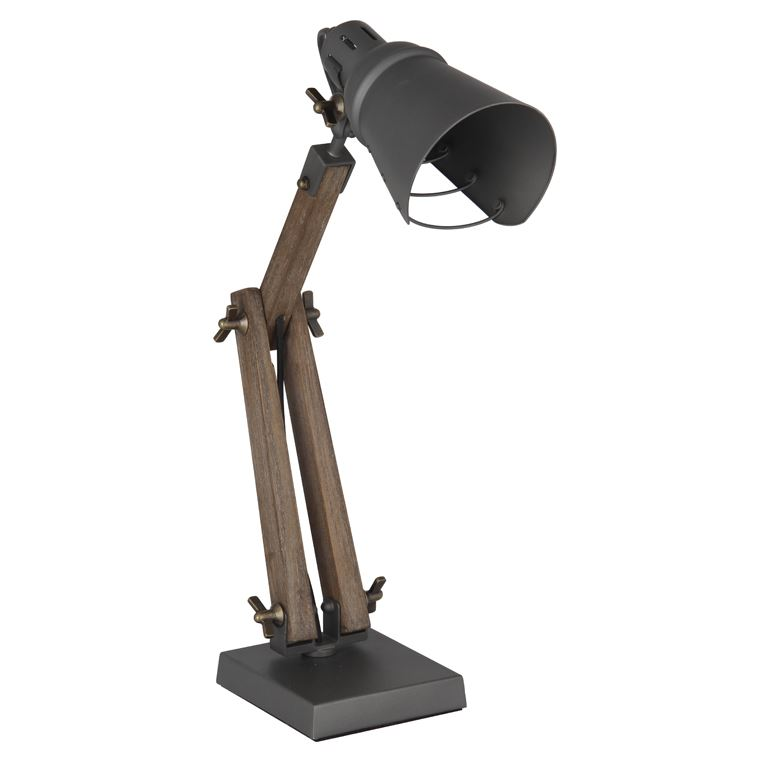 Wood/Metal Task Desk Lamp Adjustable Industrial Design Home Office Decor