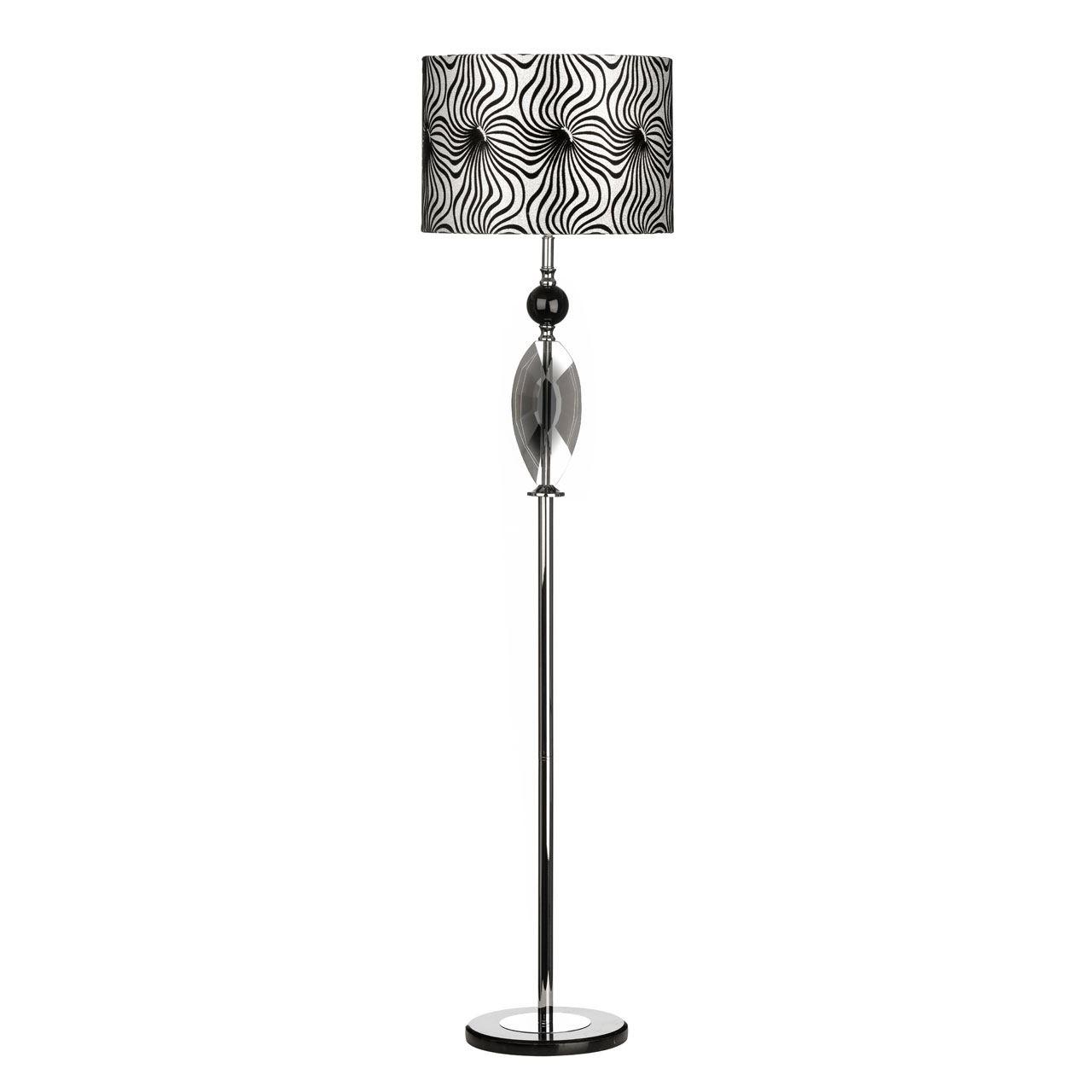 Azura Floor Lamp, Crystal/Metal Base, Fabric Shade