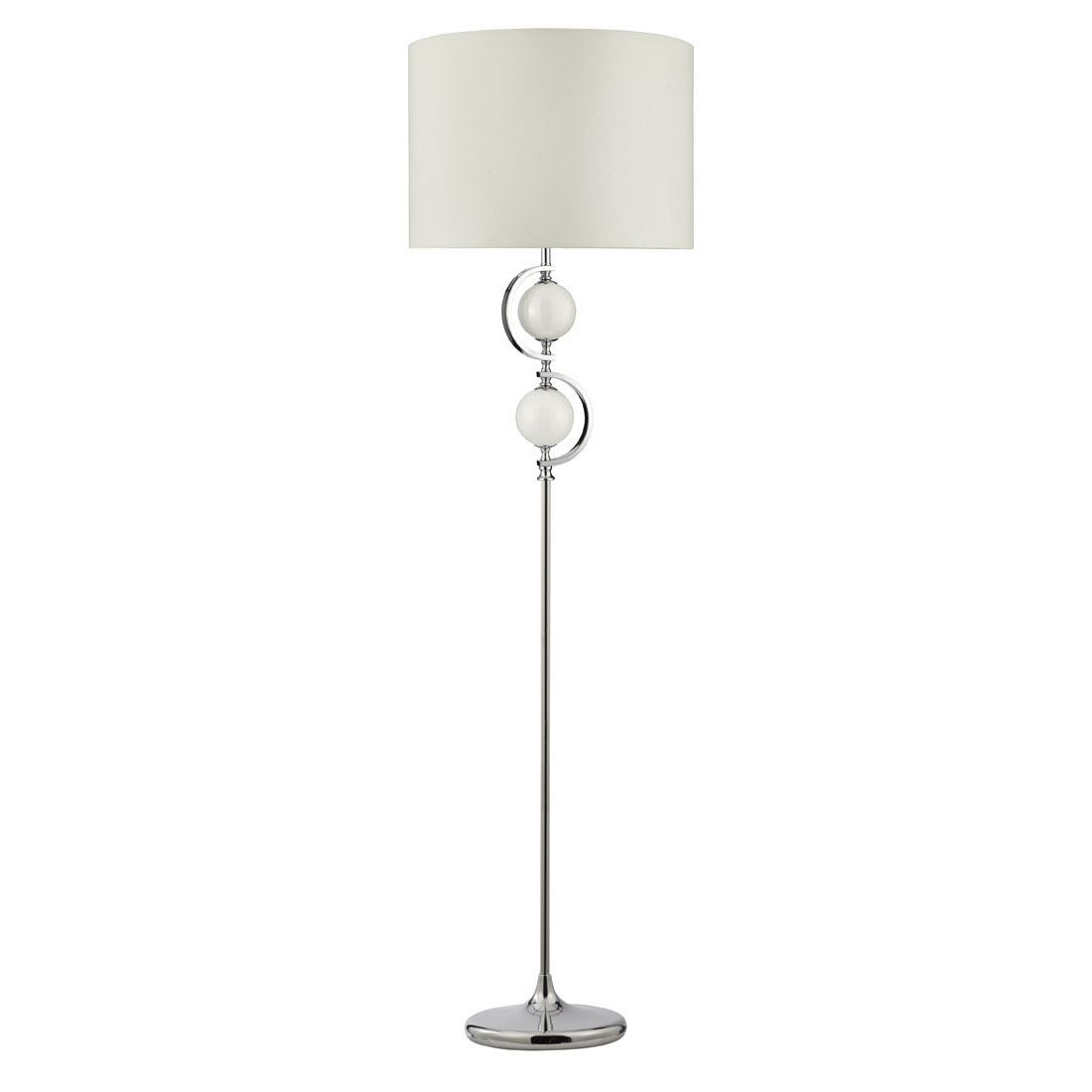 Floor Lamp - Chrome With White Glass Balls & Drum Shade