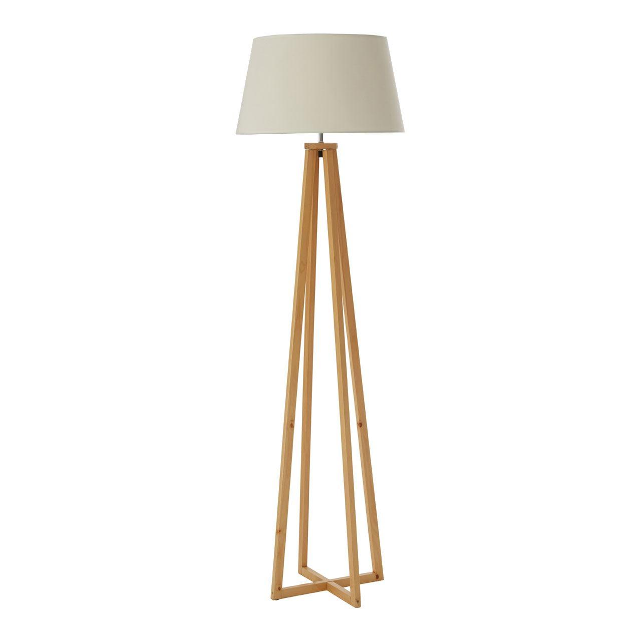 Breton Floor Lamp, Wood / Fabric Shade