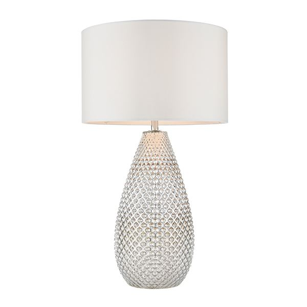 Livia Vintage Silver Glass Table Lamp With White Faux Silk Shade