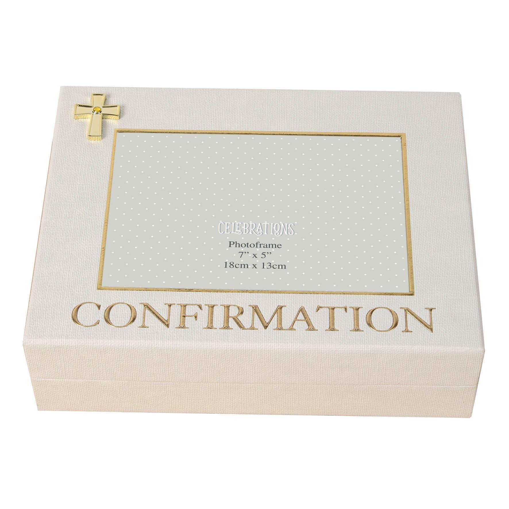 Celebrations Linen Look Keepsake Box - Confirmation