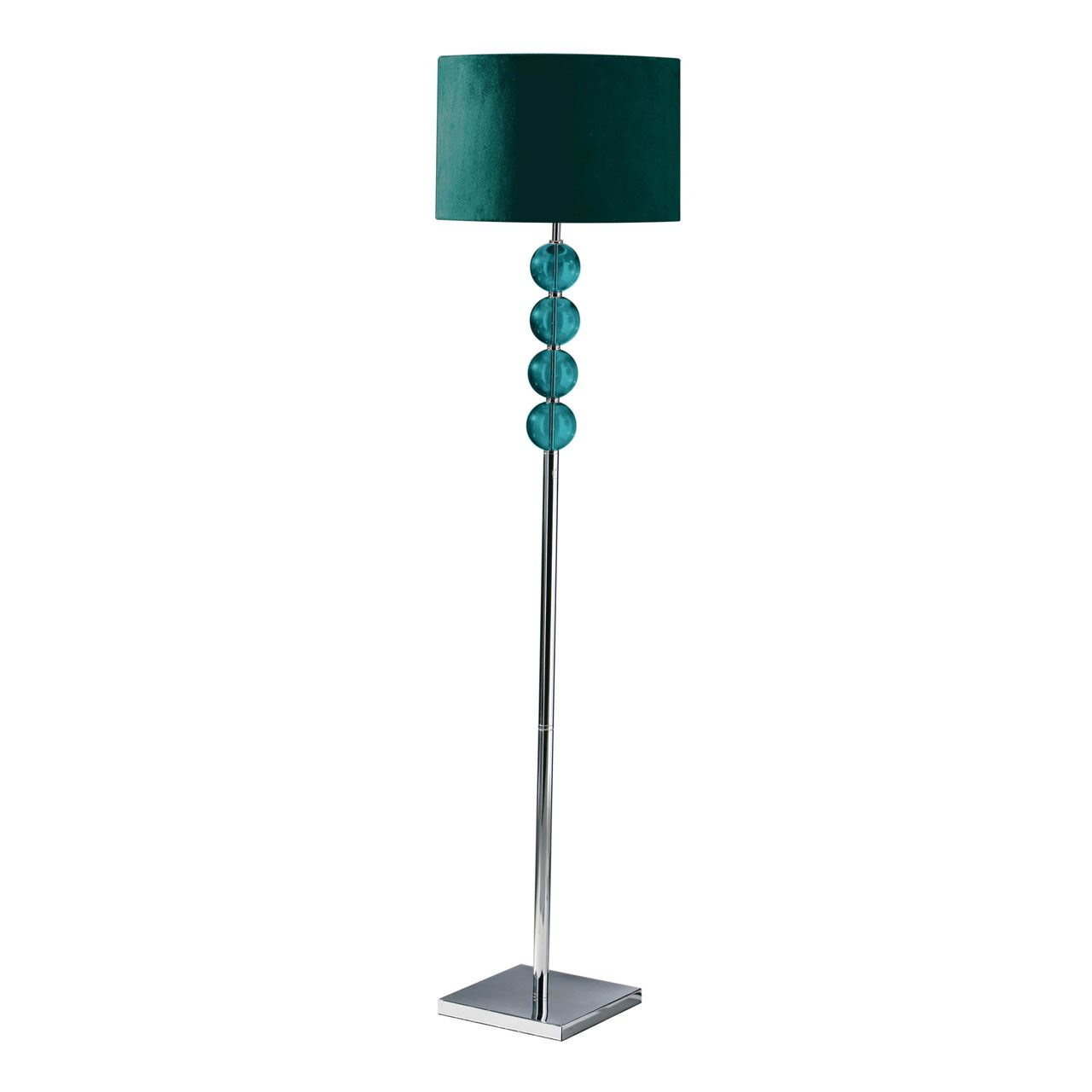 Mistro Floor Lamp, Feature Chrome Base, Teal Suede Effect Shade