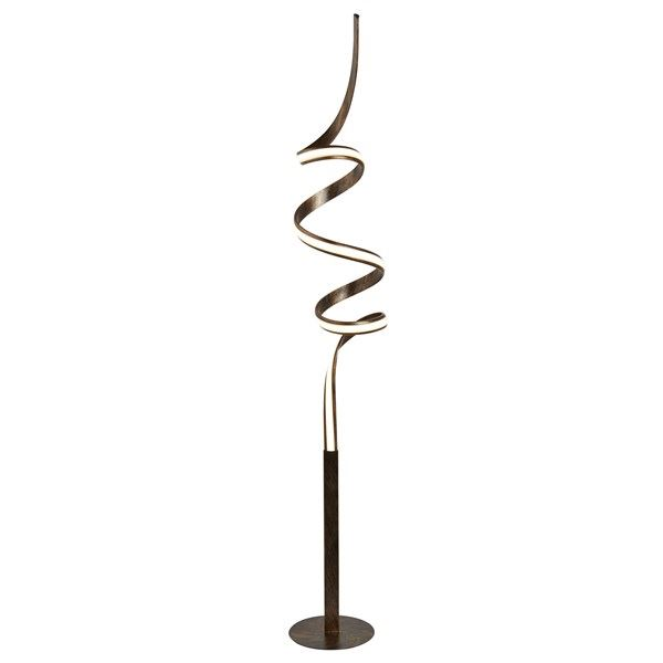 Ribbon Led Twist Floor Lamp, Rustic Black/Gold