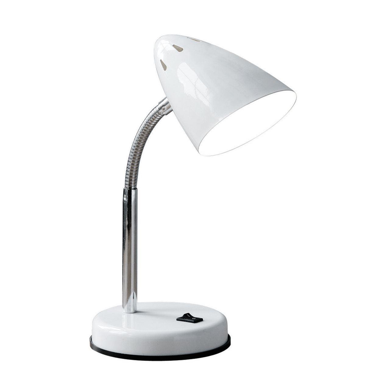 Flexi Desk Lamp (Plug), White Metal, Chrome