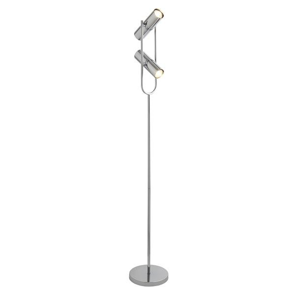 Telescope 2 Light Cylinder Shade Floor Lamp, Chrome