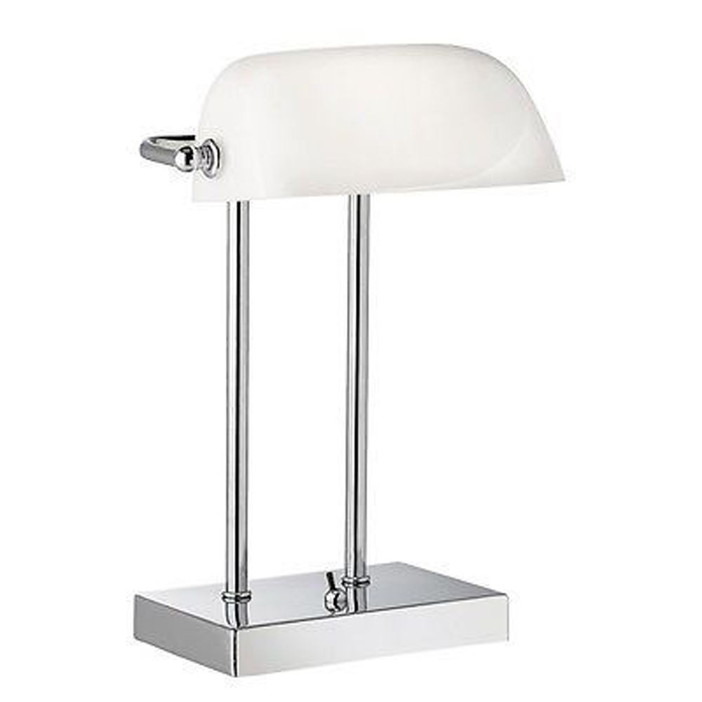 Bankers Lamp Chrome With White Glass Shade