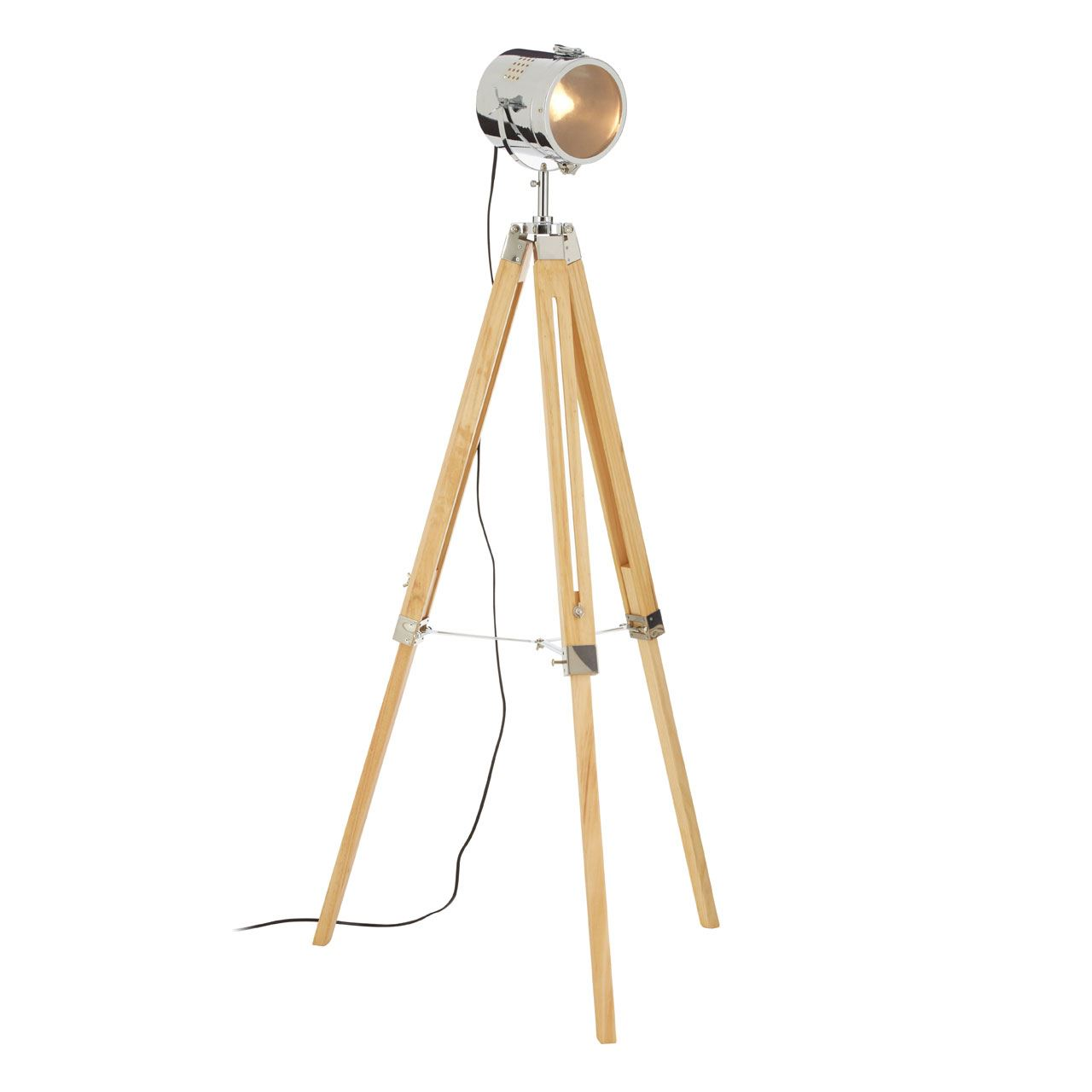 Bray Floor Lamp, Wood / Chrome, Tripod Base