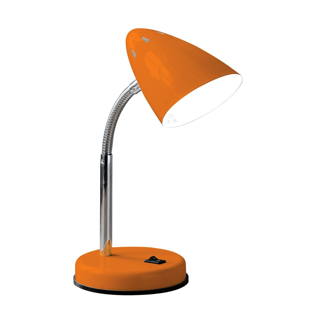 Desk Lamp, Orange Gloss, Chrome Flexible Stem