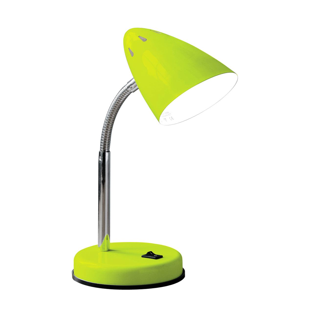 Desk Lamp, Green Gloss, Chrome Flexible Stem