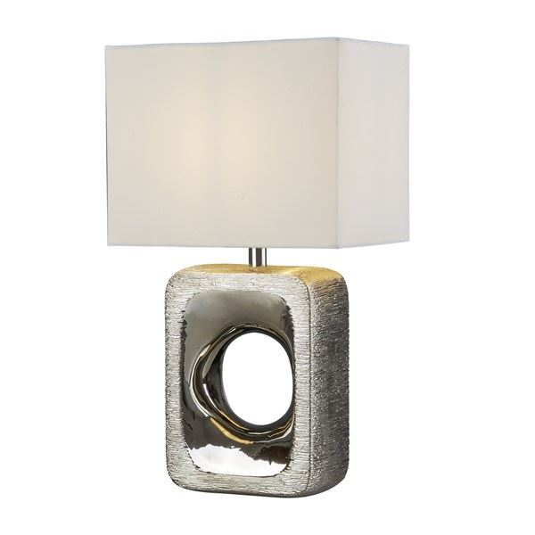 Grange Table Lamp - Silver Etched Base, White Shade