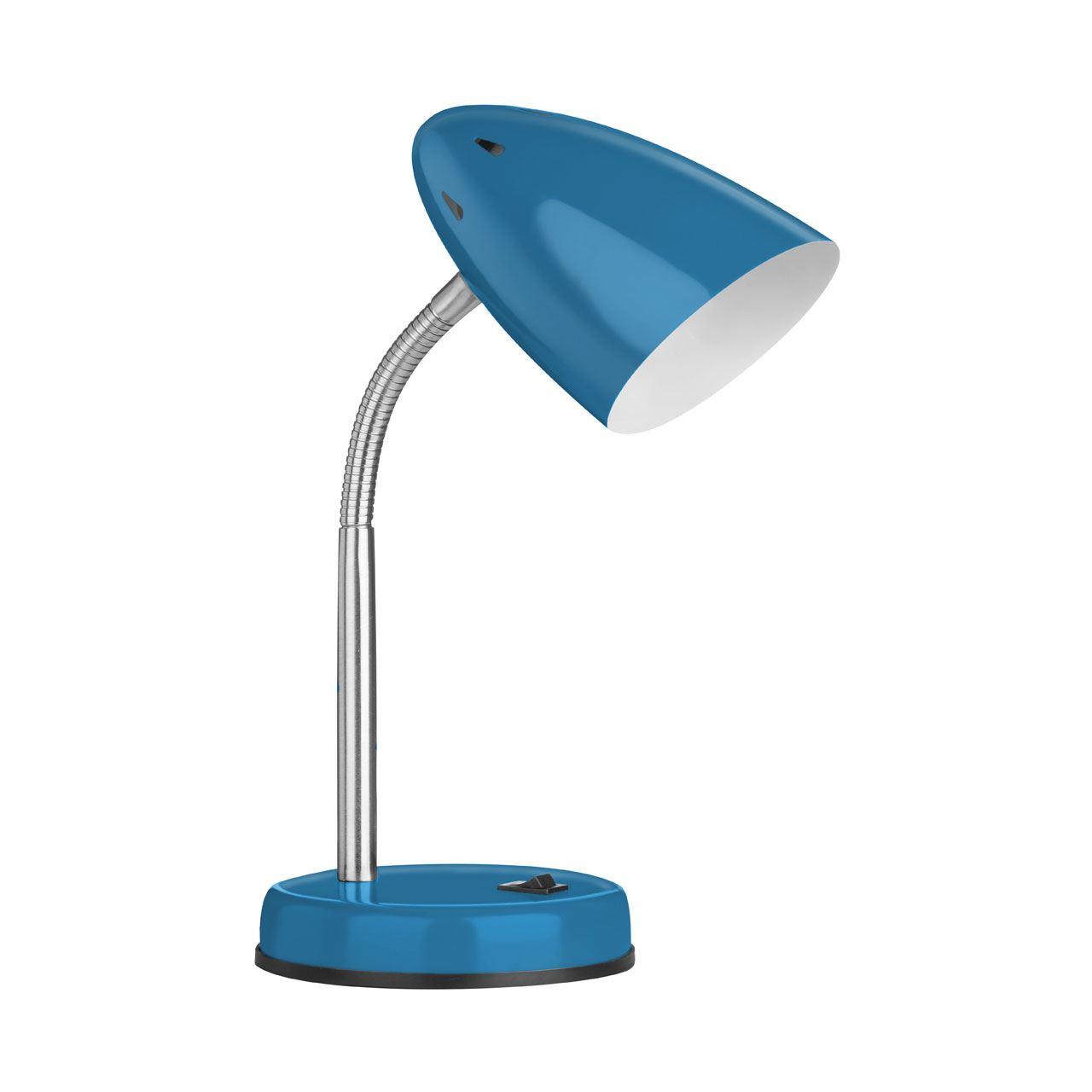 Desk Lamp, Blue Gloss, Chrome Flexible Stem