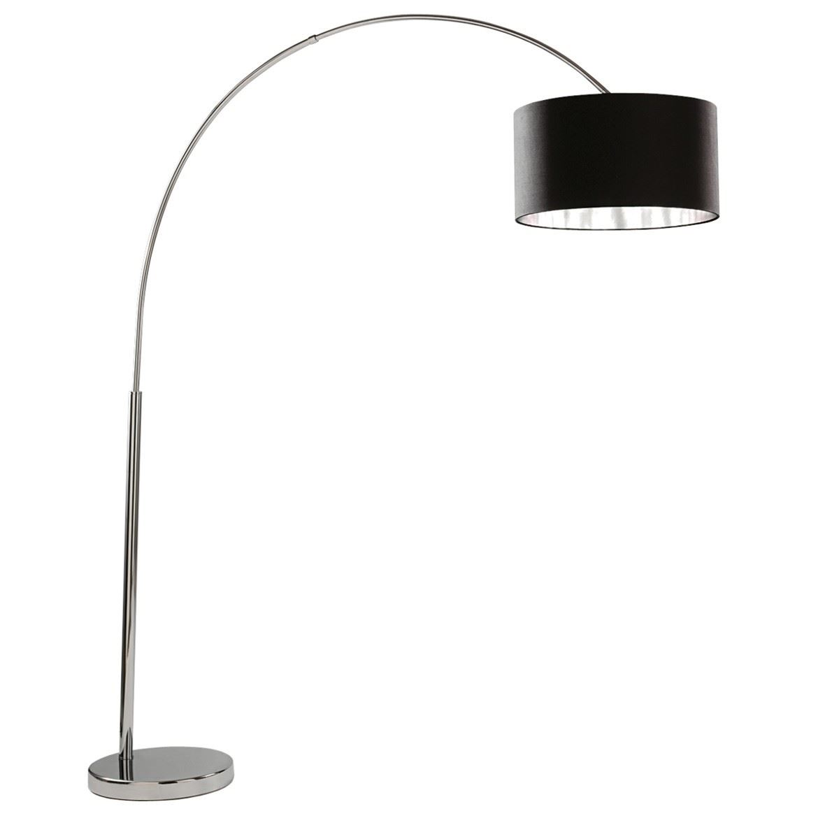 Arcs Floor Lamp - Chrome/Black Shade Silver Liner