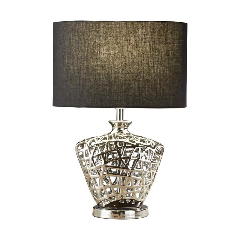 Table Lamp - Chrome Cut Out Decorative Base With Black Oval Drum Shade