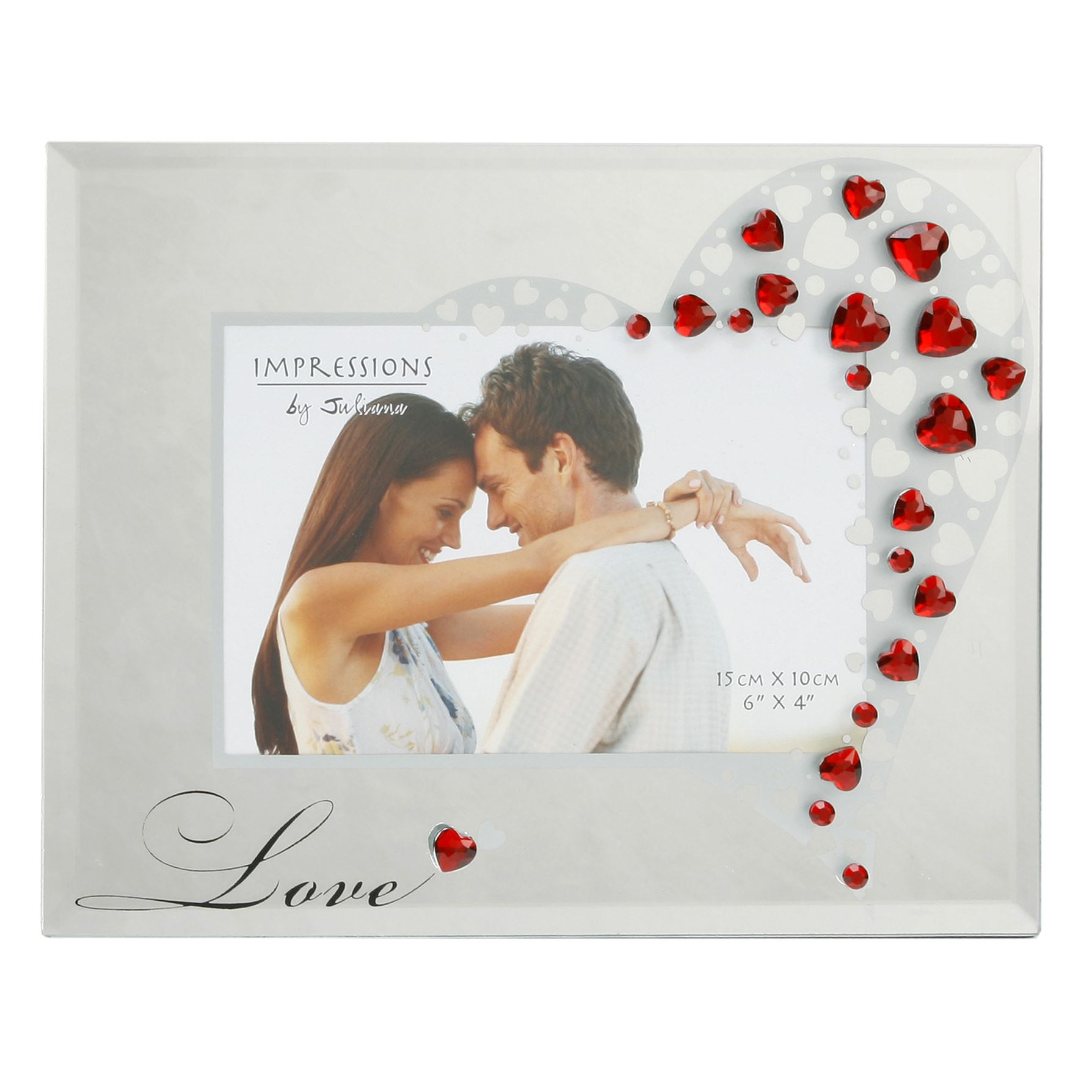 """Impressions Glass Photo Frame with Crystals Love 6""""x4"""""""