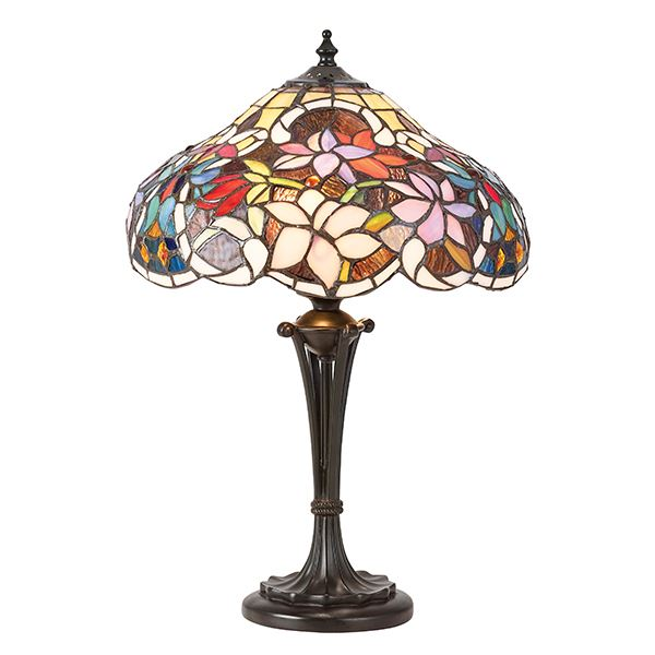 Tiffany Style Sullivan Small Table Lamp With Floral Design Multi Coloured Shade