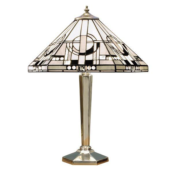 Metropolitan Tiffany Style Silver Aluminium Table Lamp 60W