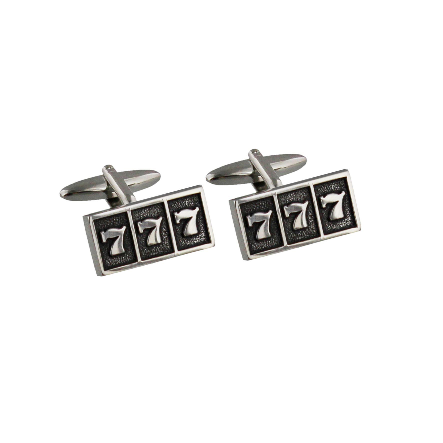 Monte Carlo Silver & Black Cufflinks - 7 7 7