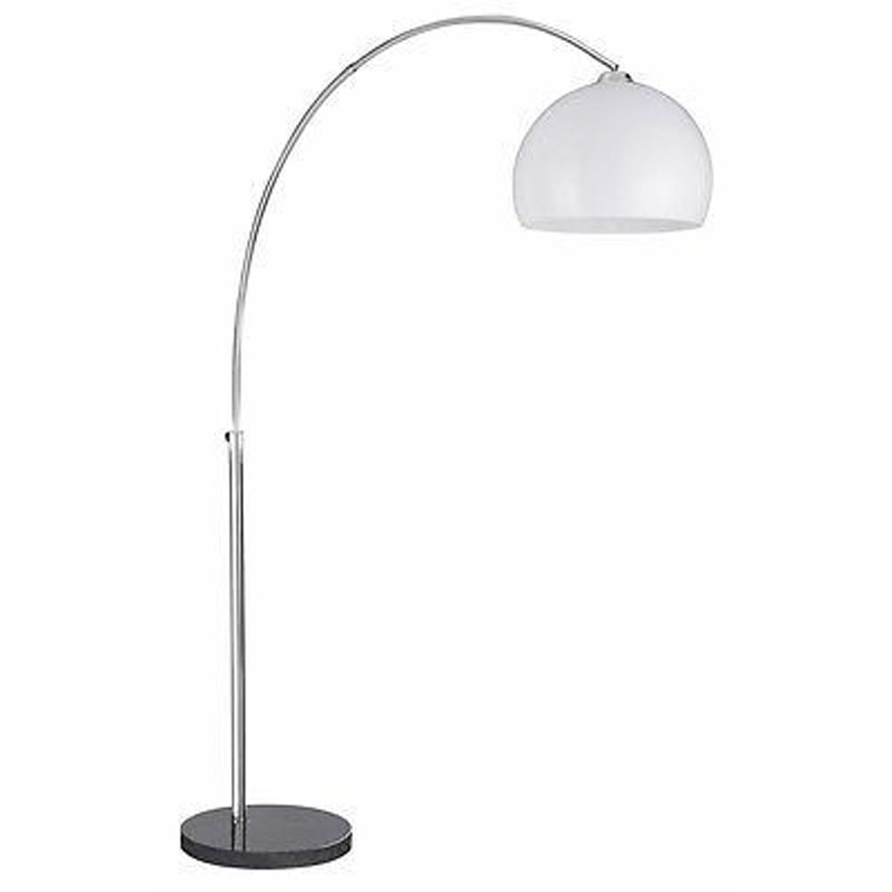 Arcs Floor Lamp - Light Chrome/White Shade Black Base