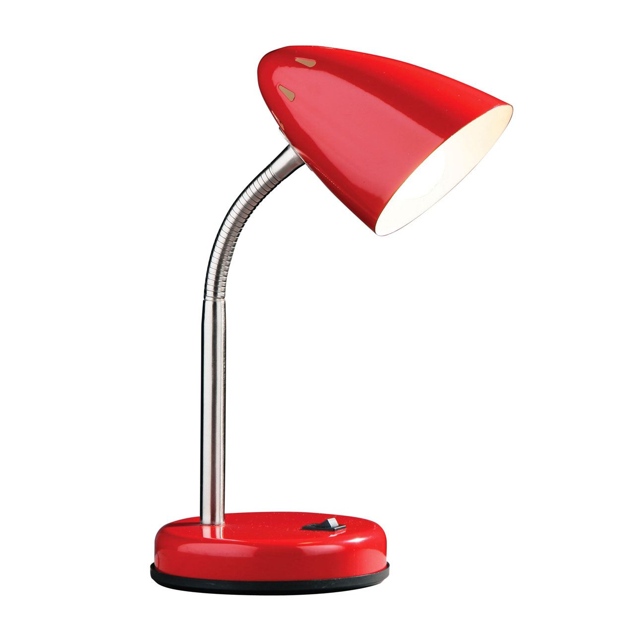 Desk Lamp, Red Gloss, Chrome Flexible Stem