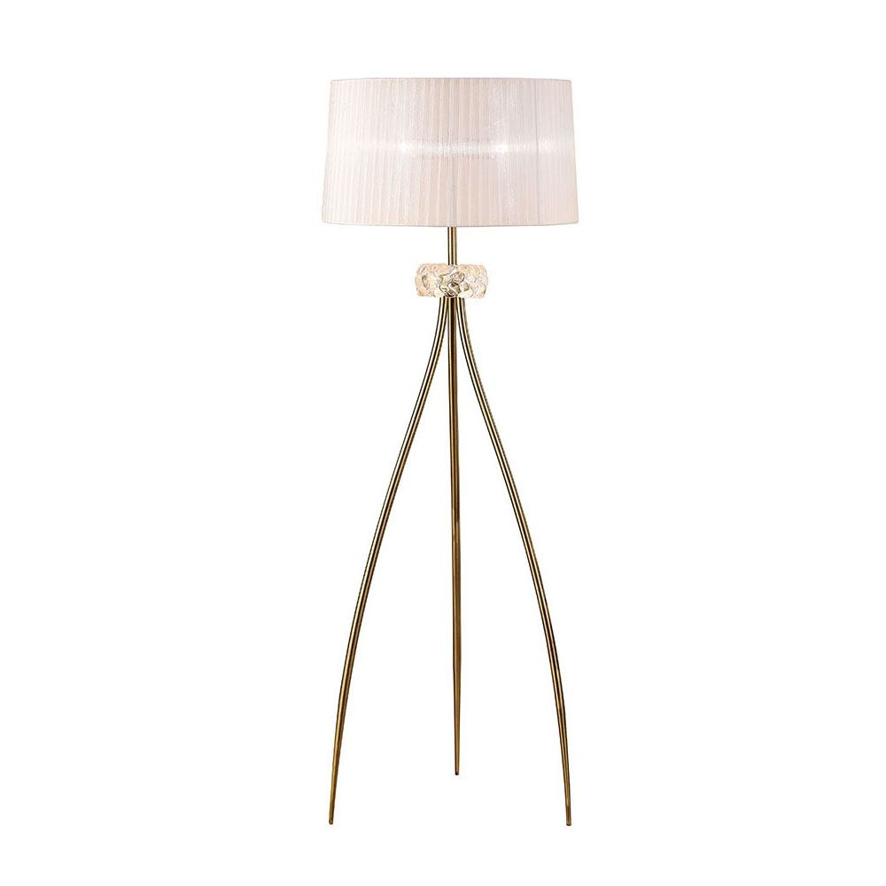 3 Light Antique Brass Loewe Tripod Floor Lamp With White Shade - Home Lighting