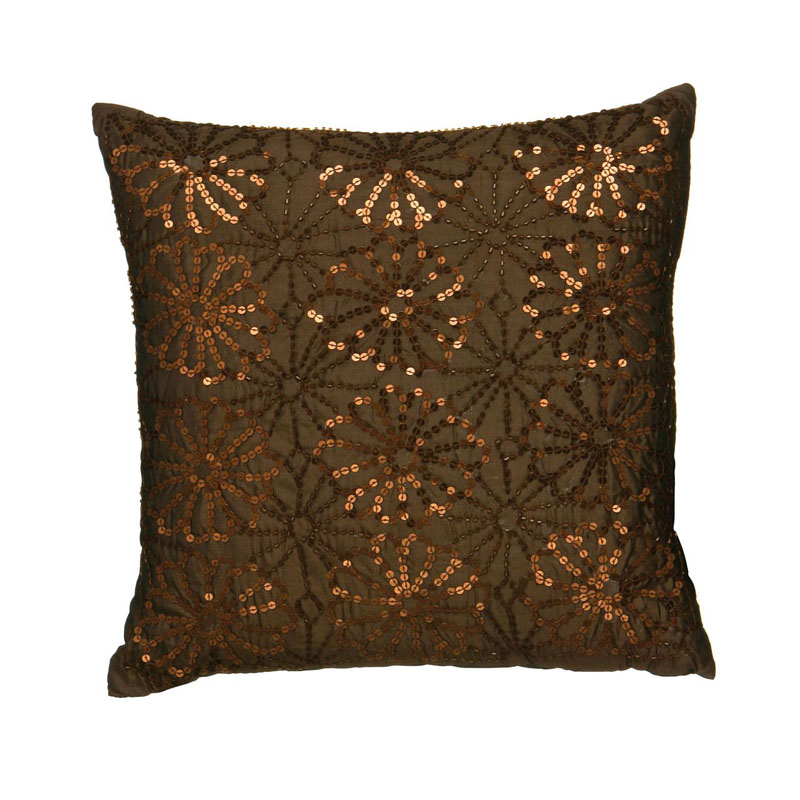 Cushion,Chocolate Flower Sequin,Hand Embroidered