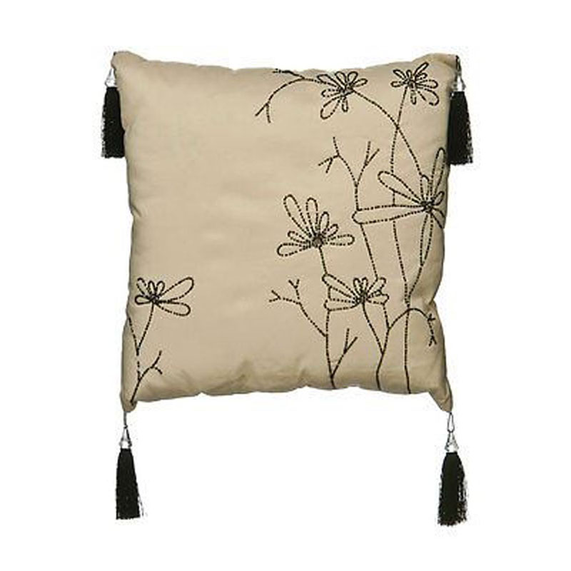 Cushion,Ivory And Black Beaded Floral With Tassels,Hand Made