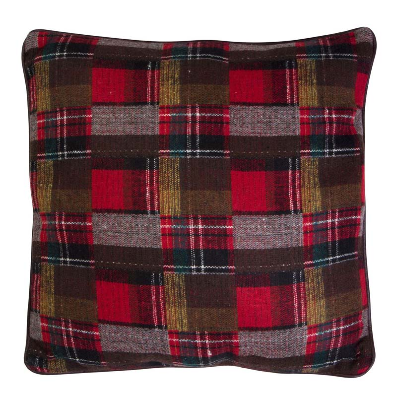 Heritage Large Cushion,Polyester & Acrylic Mix,Red Check