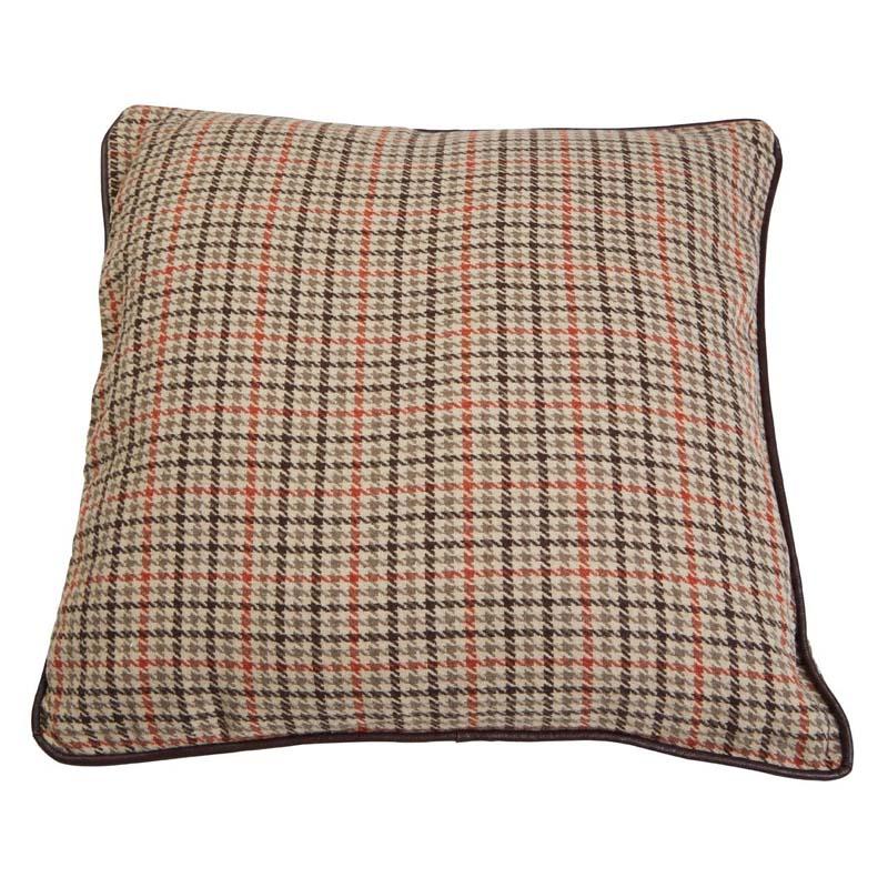 Heritage Large Cushion,Polyester & Acrylic Mix,Beige Check