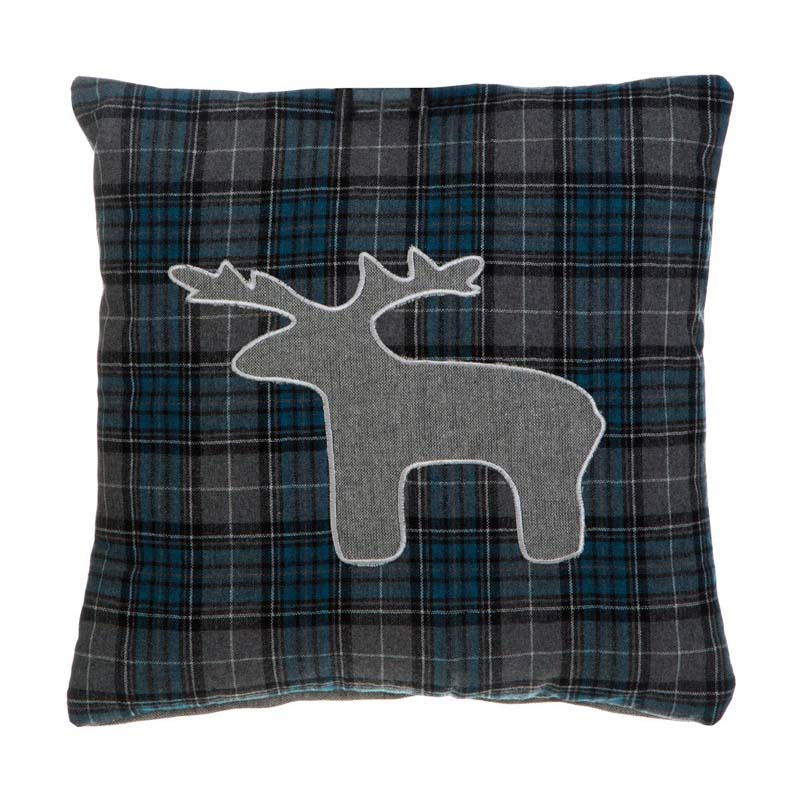Heritage Stag Cushion,Polyester & Acrylic Mix,Blue / Check