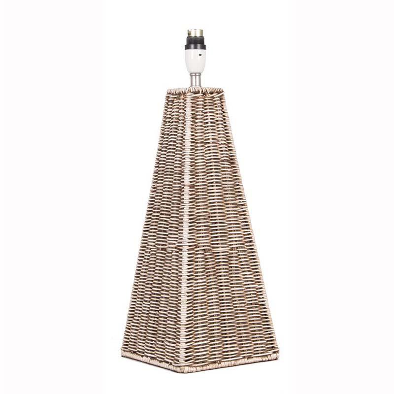 Antique Rattan Pyramid Table Lamp Base Only Cream Wash Unique Design