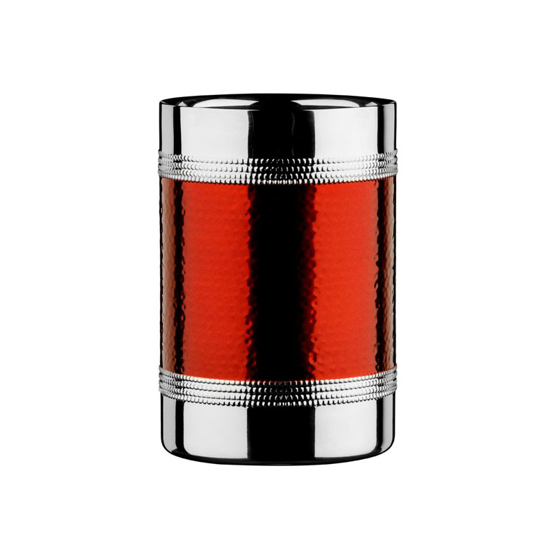 Bottle Cooler, Stainless Steel, Hammered Red Band