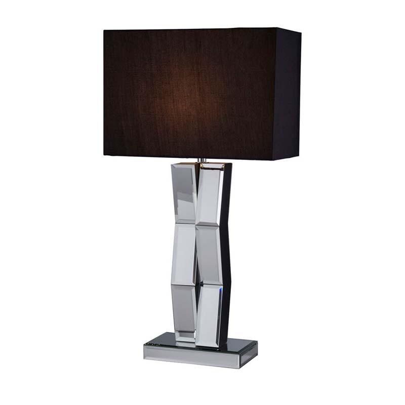 Contemporary Style Mirror Table Lamp Black Rectangular Shade