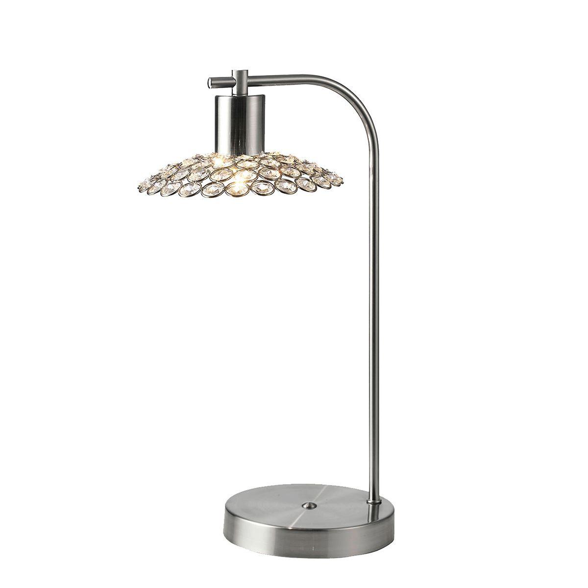 Ellen 1 Light Table Lamp Satin Nickel With Crystal Shade