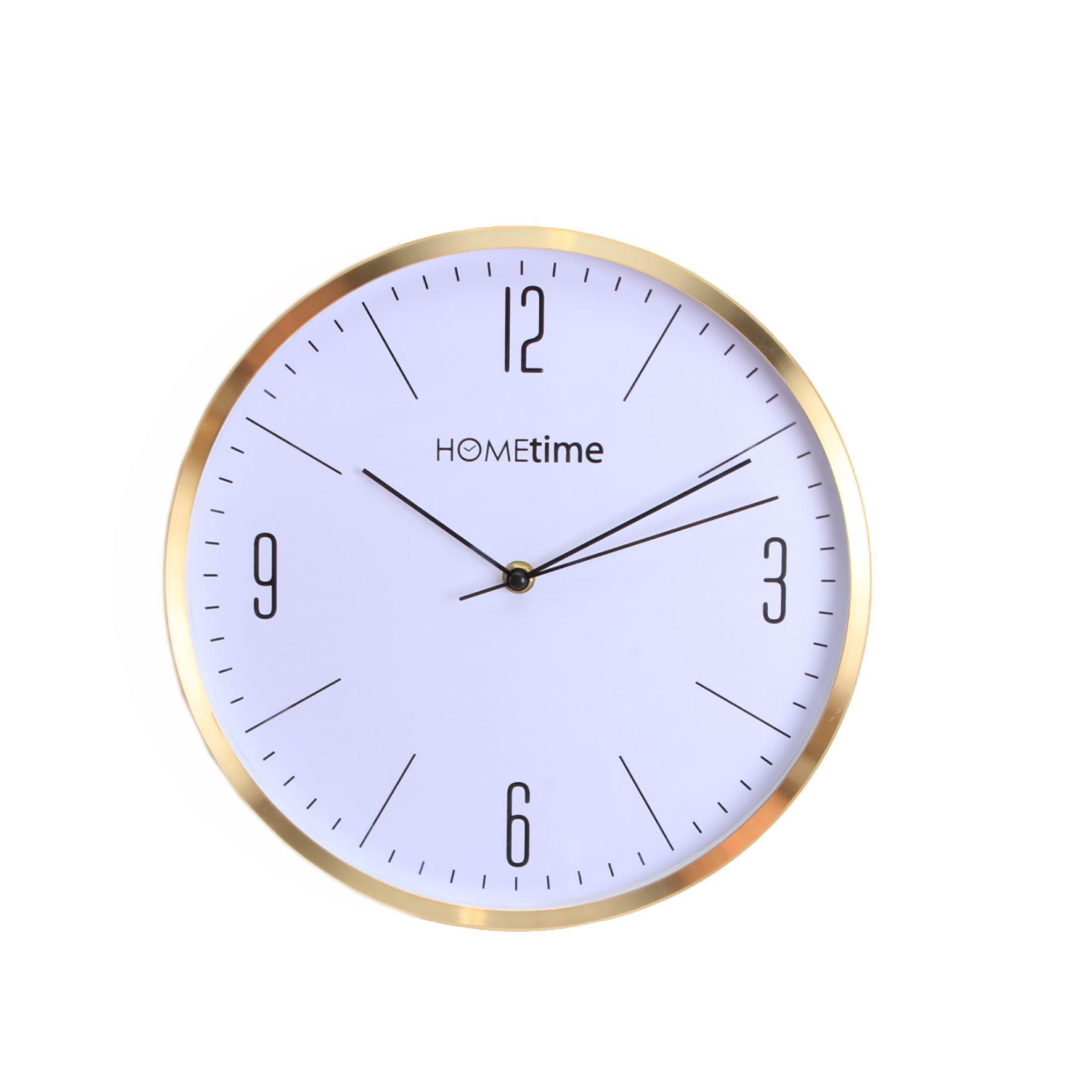 Hometime Aluminium Wall Clock Gold Finish Arabic 30Cm