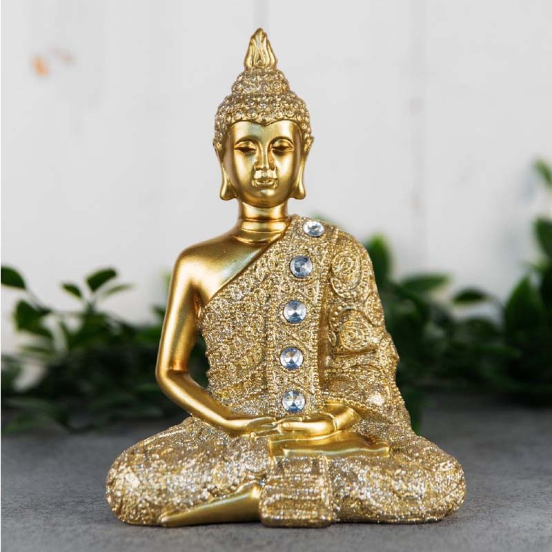 Gold Sitting Thai Buddha Figurine 17cm