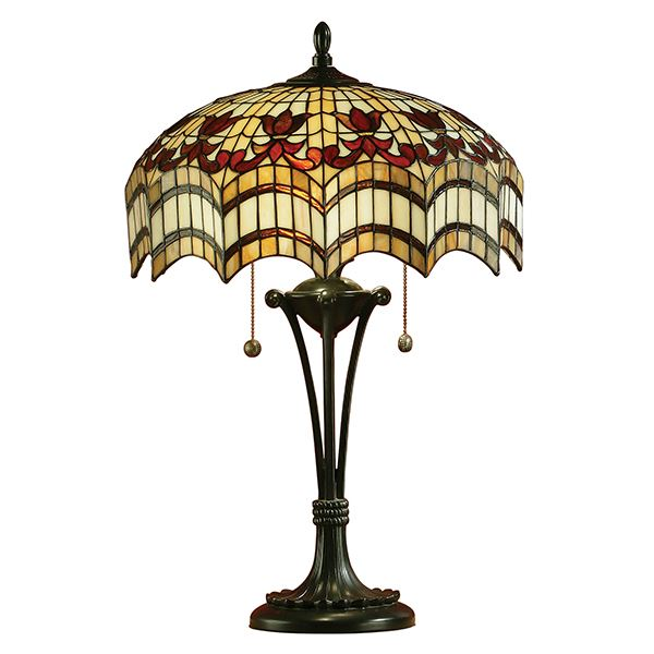Tiffany Style Vesta Table Lamp With Multi Coloured Glass Shade